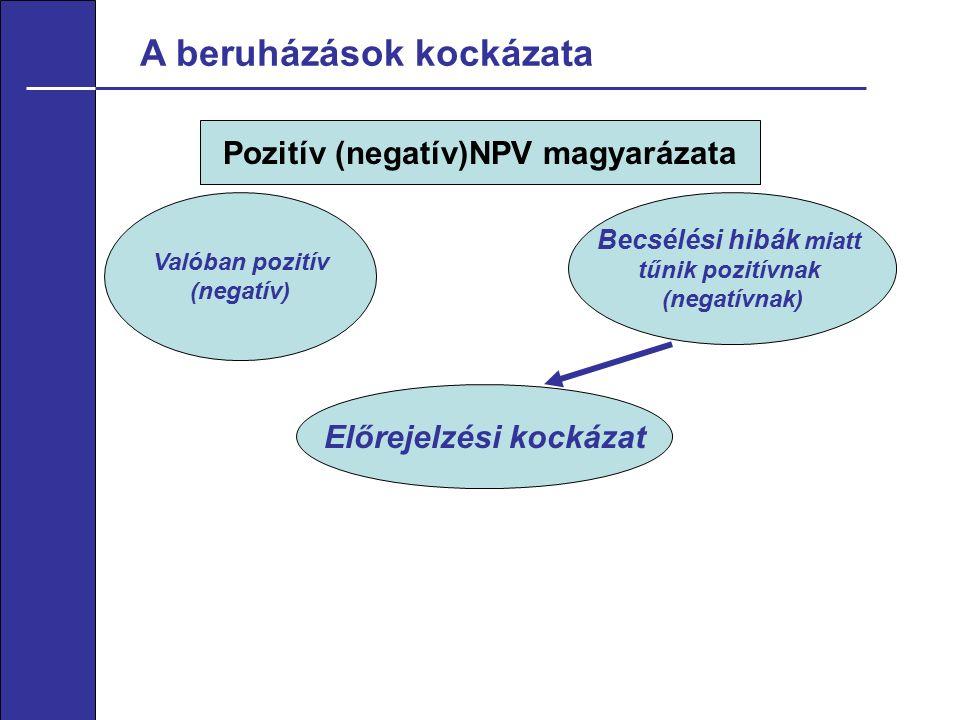 A beruházások kockázata Pozitív (negatív)NPV magyarázata Valóban pozitív (negatív) Becsélési hibák miatt tűnik pozitívnak (negatívnak) Előrejelzési kockázat