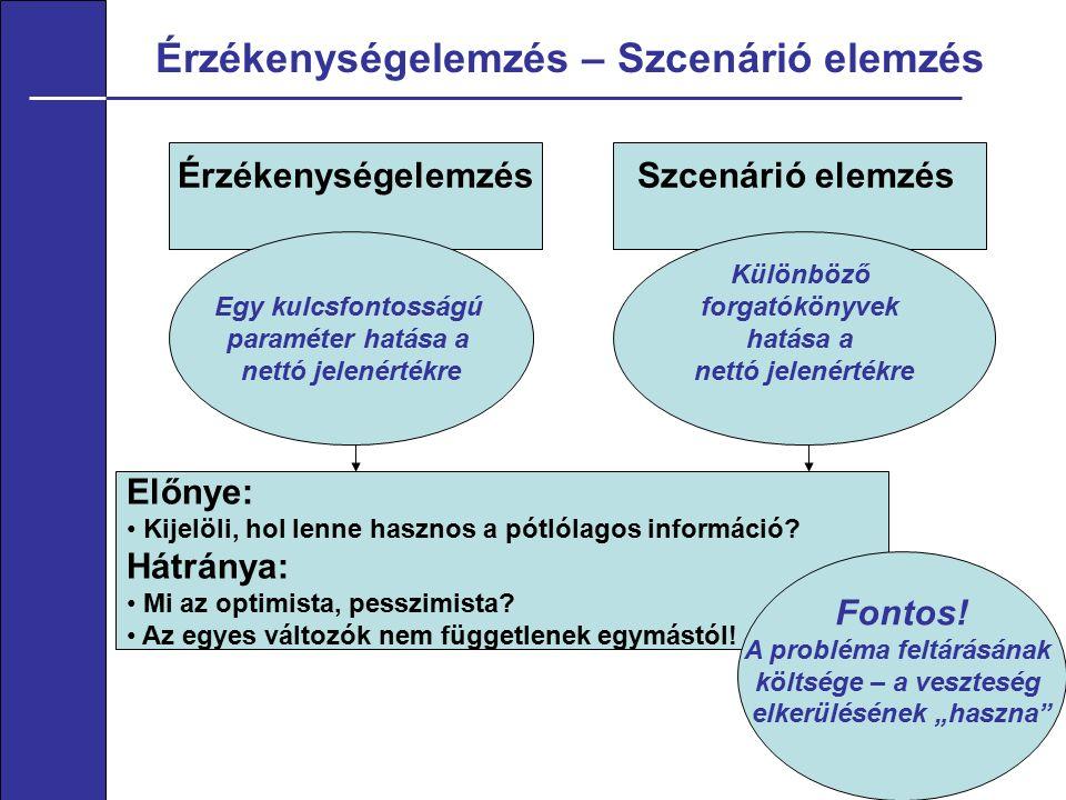 Érzékenységelemzés – Szcenárió elemzés 7 ÉrzékenységelemzésSzcenárió elemzés Egy kulcsfontosságú paraméter hatása a nettó jelenértékre Különböző forgatókönyvek hatása a nettó jelenértékre Előnye: Kijelöli, hol lenne hasznos a pótlólagos információ.