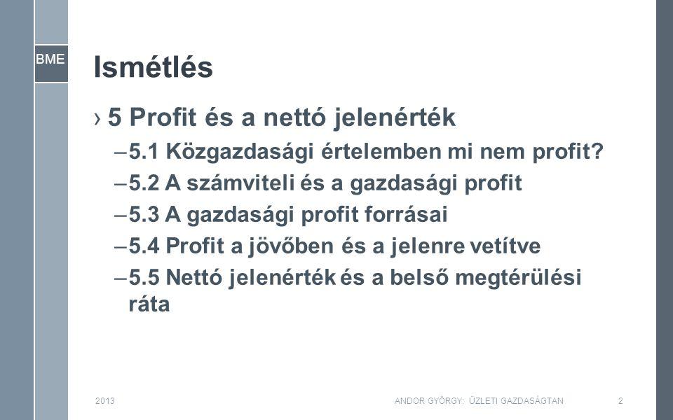 """BME 2013ANDOR GYÖRGY: ÜZLETI GAZDASÁGTAN3 ›Nettó jelenérték több időegységre általánosítva: –Az NPV egyben megadja egy beruházási lehetőség (""""ötlet ) közgazdasági értékét is."""