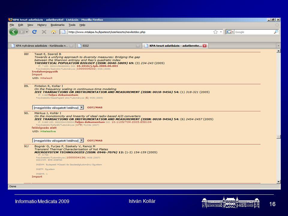 István Kollár 16 Informatio Medicata 2009