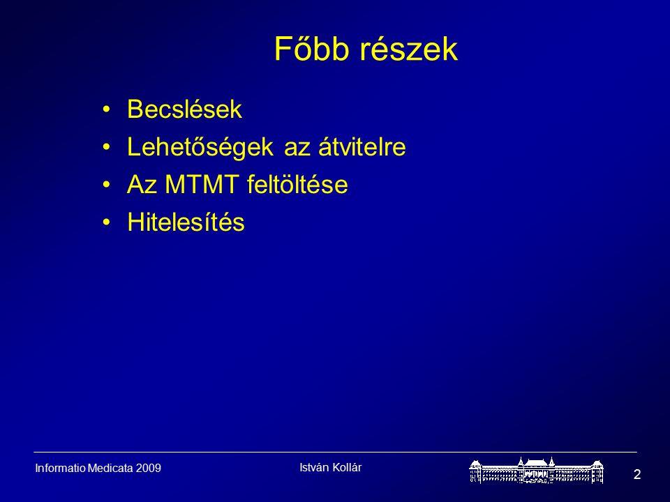 István Kollár 2 Informatio Medicata 2009 Főbb részek Becslések Lehetőségek az átvitelre Az MTMT feltöltése Hitelesítés