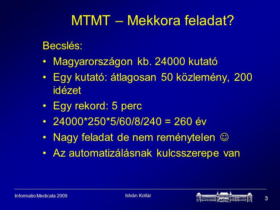 István Kollár 3 Informatio Medicata 2009 MTMT – Mekkora feladat.