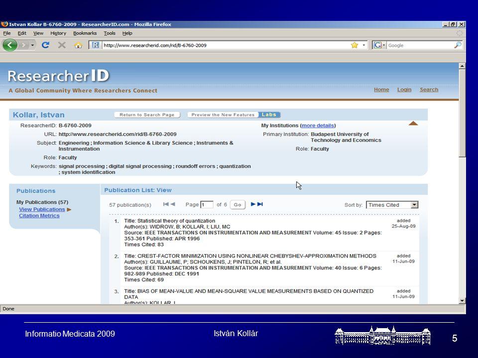István Kollár 5 Informatio Medicata 2009