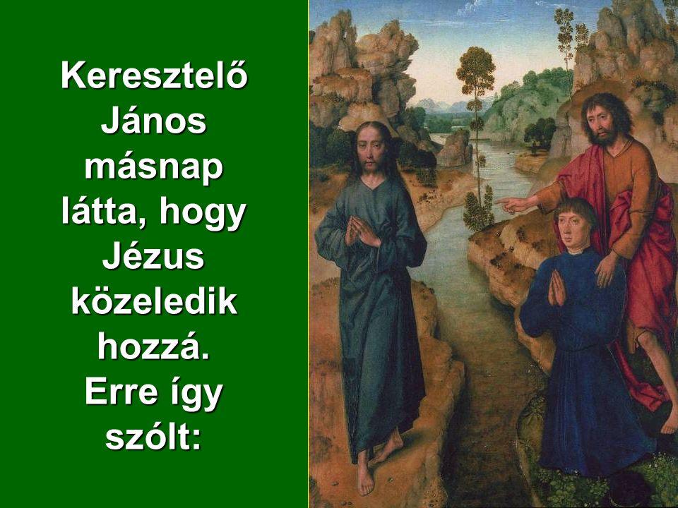 Keresztelő János másnap látta, hogy Jézus közeledik hozzá. Erre így szólt:
