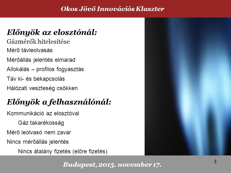 Mérő távleolvasás Mérőállás jelentés elmarad Allokálás – profilos fogyasztás Táv ki- és bekapcsolás Hálózati veszteség csökken Előnyök a felhasználónál: Kommunikáció az elosztóval Gáz takarékosság Mérő leolvasó nem zavar Nincs mérőállás jelentés Nincs átalány fizetés (előre fizetés) Okos Jövő Innovációs Klaszter Budapest, 2015.