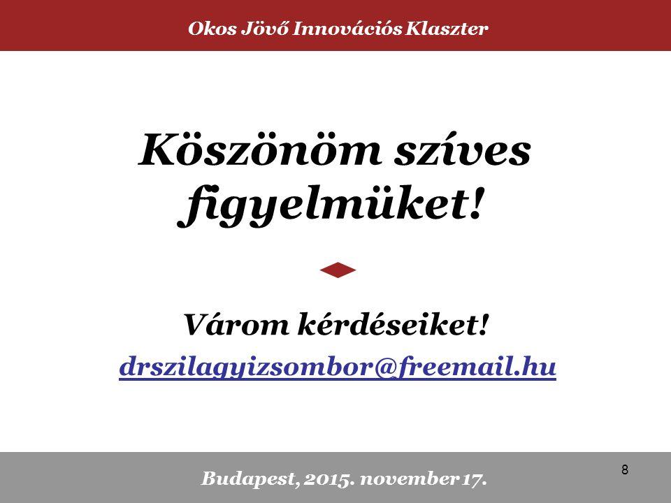 Köszönöm szíves figyelmüket. Várom kérdéseiket. Okos Jövő Innovációs Klaszter Budapest, 2015.