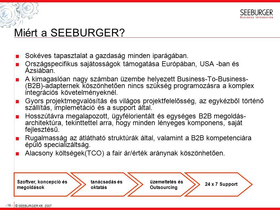 - 16 - © SEEBURGER Kft. 2007 Miért a SEEBURGER?  Sokéves tapasztalat a gazdaság minden iparágában.  Országspecifikus sajátosságok támogatása Európáb