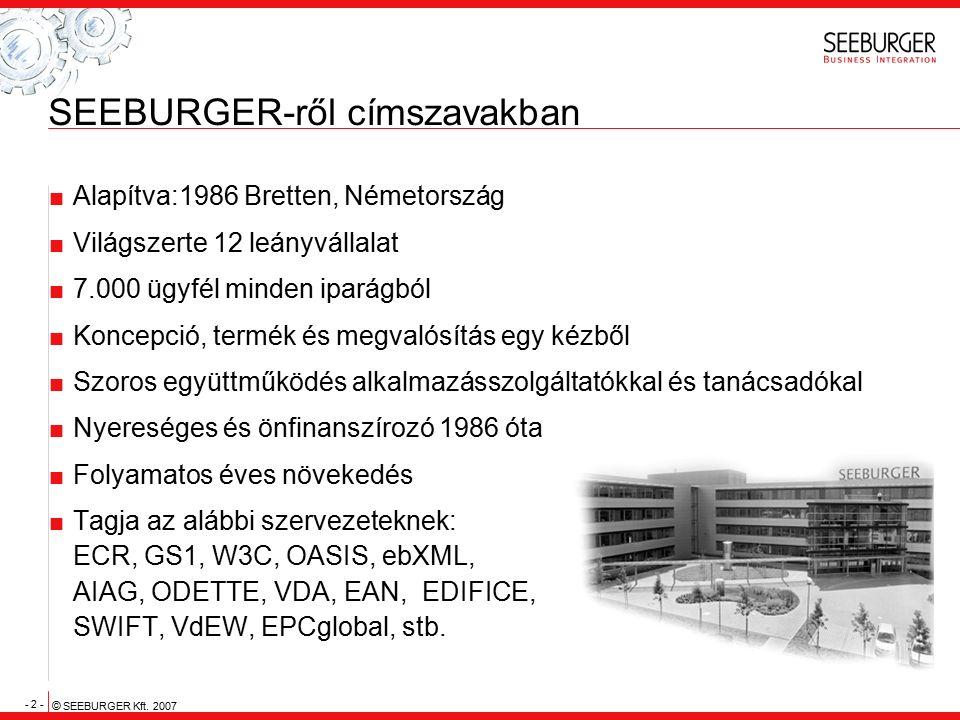 - 2 - © SEEBURGER Kft. 2007 SEEBURGER-ről címszavakban  Alapítva:1986 Bretten, Németország  Világszerte 12 leányvállalat  7.000 ügyfél minden ipará