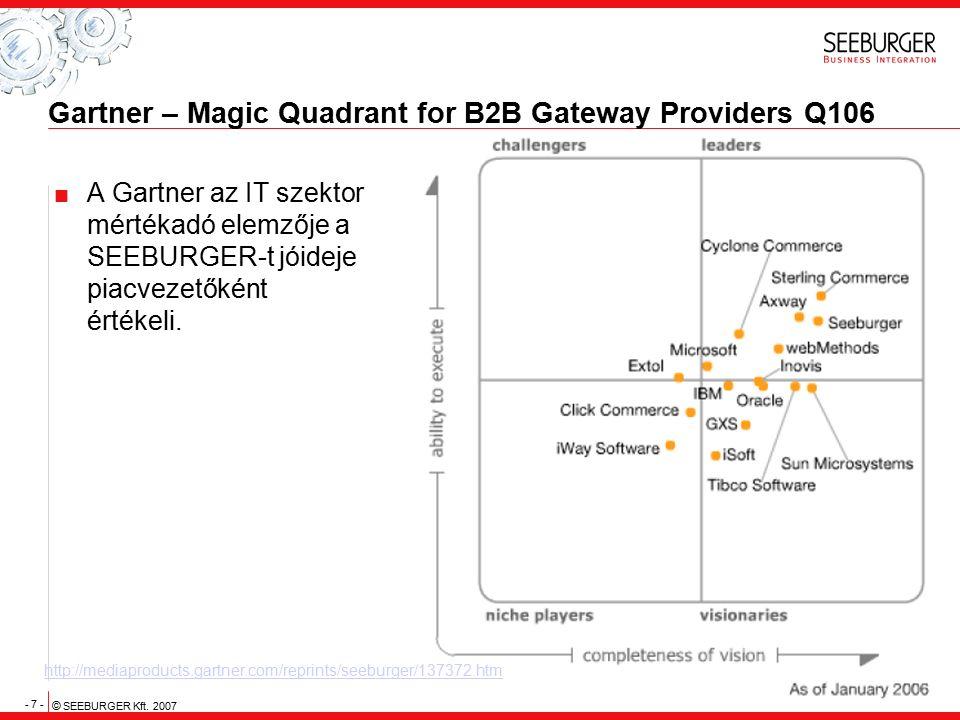 - 7 - © SEEBURGER Kft. 2007 Gartner – Magic Quadrant for B2B Gateway Providers Q106  A Gartner az IT szektor mértékadó elemzője a SEEBURGER-t jóideje