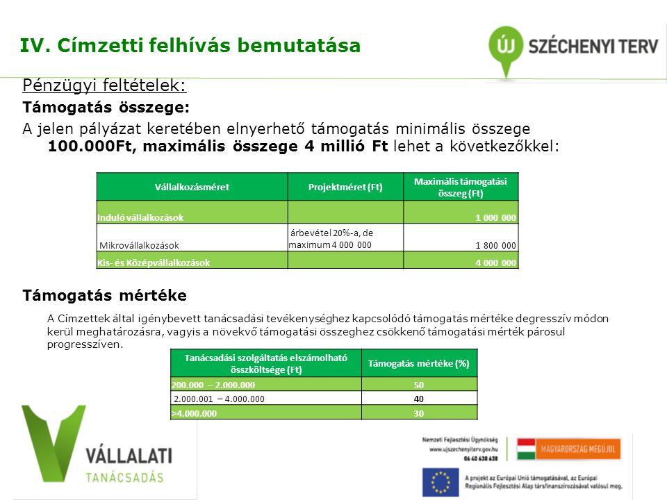 IV. Címzetti felhívás bemutatása Pénzügyi feltételek: Támogatás összege: A jelen pályázat keretében elnyerhető támogatás minimális összege 100.000Ft,