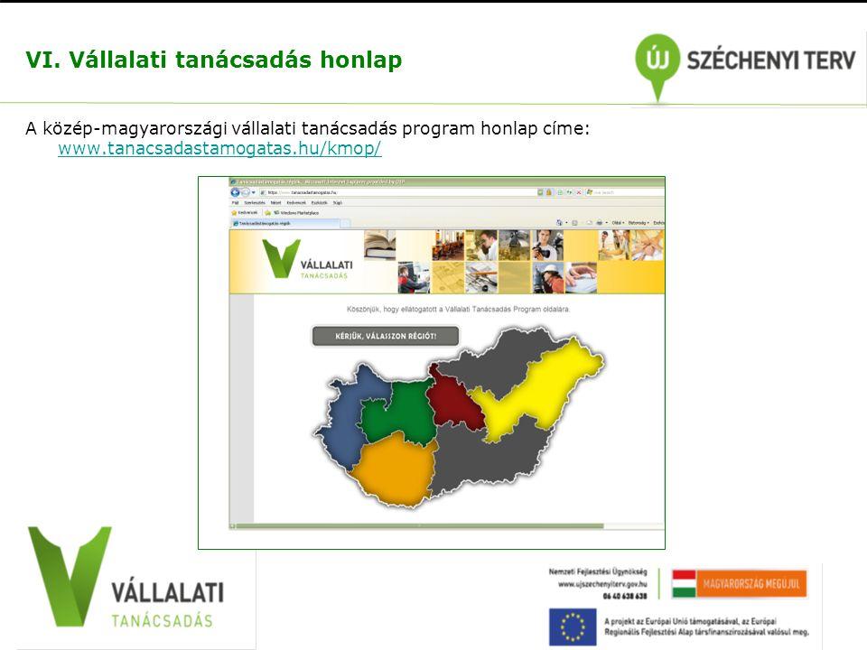 VI. Vállalati tanácsadás honlap A közép-magyarországi vállalati tanácsadás program honlap címe: www.tanacsadastamogatas.hu/kmop/ www.tanacsadastamogat