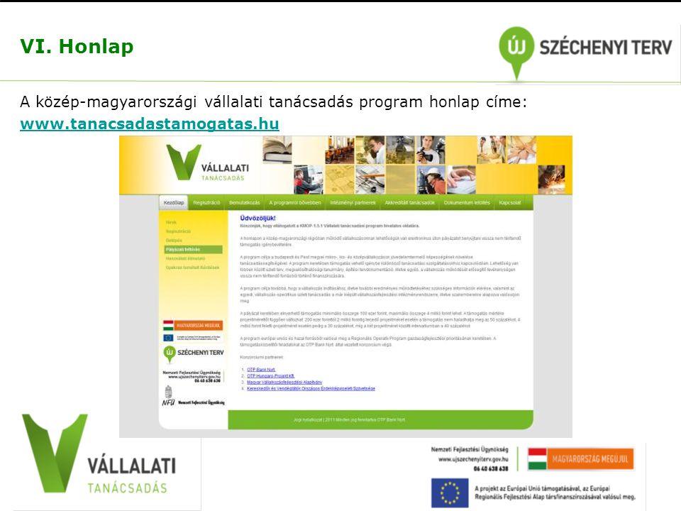 VI. Honlap A közép-magyarországi vállalati tanácsadás program honlap címe: www.tanacsadastamogatas.hu