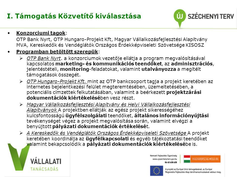 I. Támogatás Közvetítő kiválasztása Konzorciumi tagok: OTP Bank Nyrt, OTP Hungaro-Projekt Kft, Magyar Vállalkozásfejlesztési Alapítvány MVA, Kereskedő