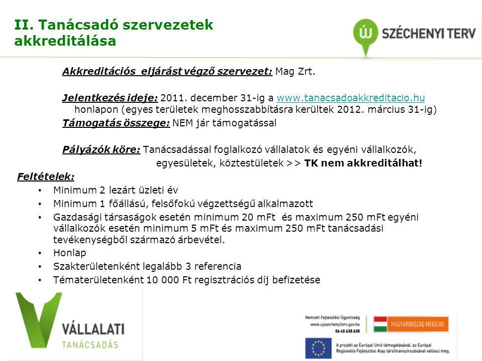 II. Tanácsadó szervezetek akkreditálása Akkreditációs eljárást végző szervezet: Mag Zrt. Jelentkezés ideje: 2011. december 31-ig a www.tanacsadoakkred