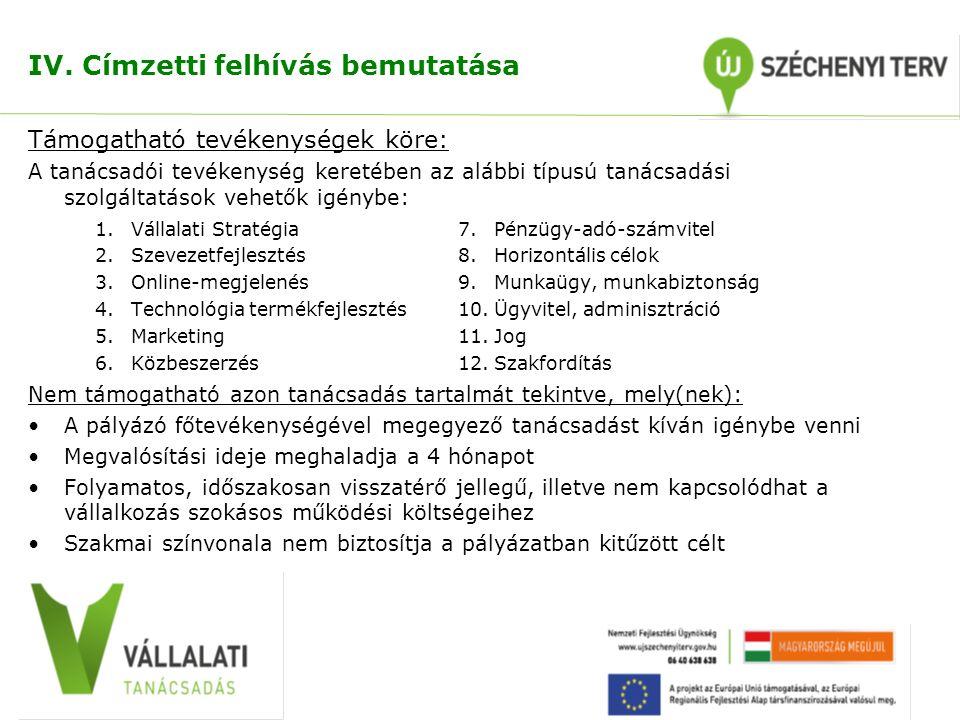 IV. Címzetti felhívás bemutatása Támogatható tevékenységek köre: A tanácsadói tevékenység keretében az alábbi típusú tanácsadási szolgáltatások vehető