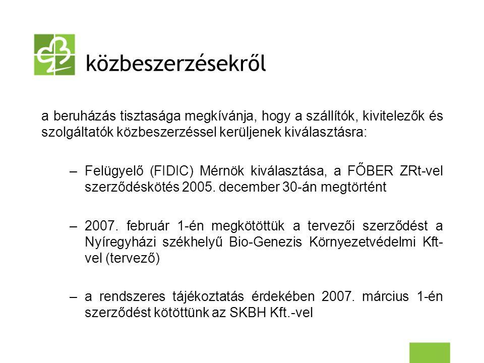 közbeszerzésekről a beruházás tisztasága megkívánja, hogy a szállítók, kivitelezők és szolgáltatók közbeszerzéssel kerüljenek kiválasztásra: –Felügyelő (FIDIC) Mérnök kiválasztása, a FŐBER ZRt-vel szerződéskötés 2005.