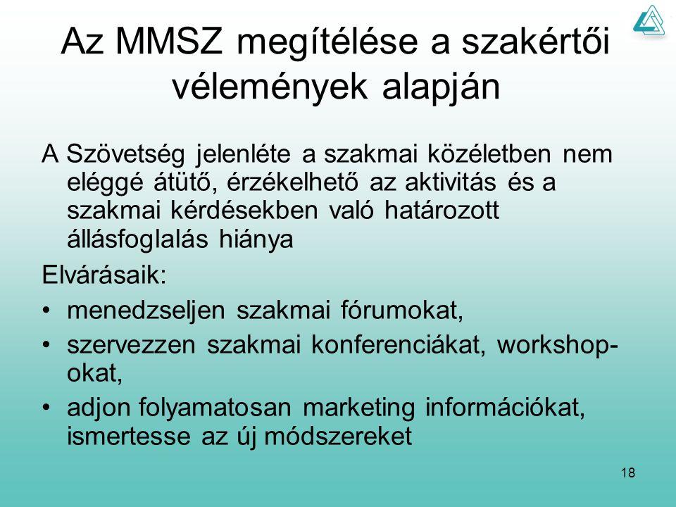 18 Az MMSZ megítélése a szakértői vélemények alapján A Szövetség jelenléte a szakmai közéletben nem eléggé átütő, érzékelhető az aktivitás és a szakmai kérdésekben való határozott állásfoglalás hiánya Elvárásaik: menedzseljen szakmai fórumokat, szervezzen szakmai konferenciákat, workshop- okat, adjon folyamatosan marketing információkat, ismertesse az új módszereket