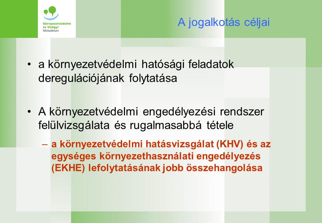 A jogalkotás céljai a környezetvédelmi hatósági feladatok deregulációjának folytatása A környezetvédelmi engedélyezési rendszer felülvizsgálata és rugalmasabbá tétele –a környezetvédelmi hatásvizsgálat (KHV) és az egységes környezethasználati engedélyezés (EKHE) lefolytatásának jobb összehangolása