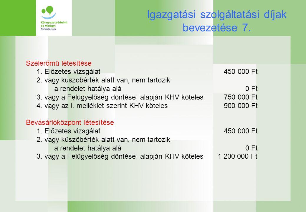 Igazgatási szolgáltatási díjak bevezetése 7. Szélerőmű létesítése 1.