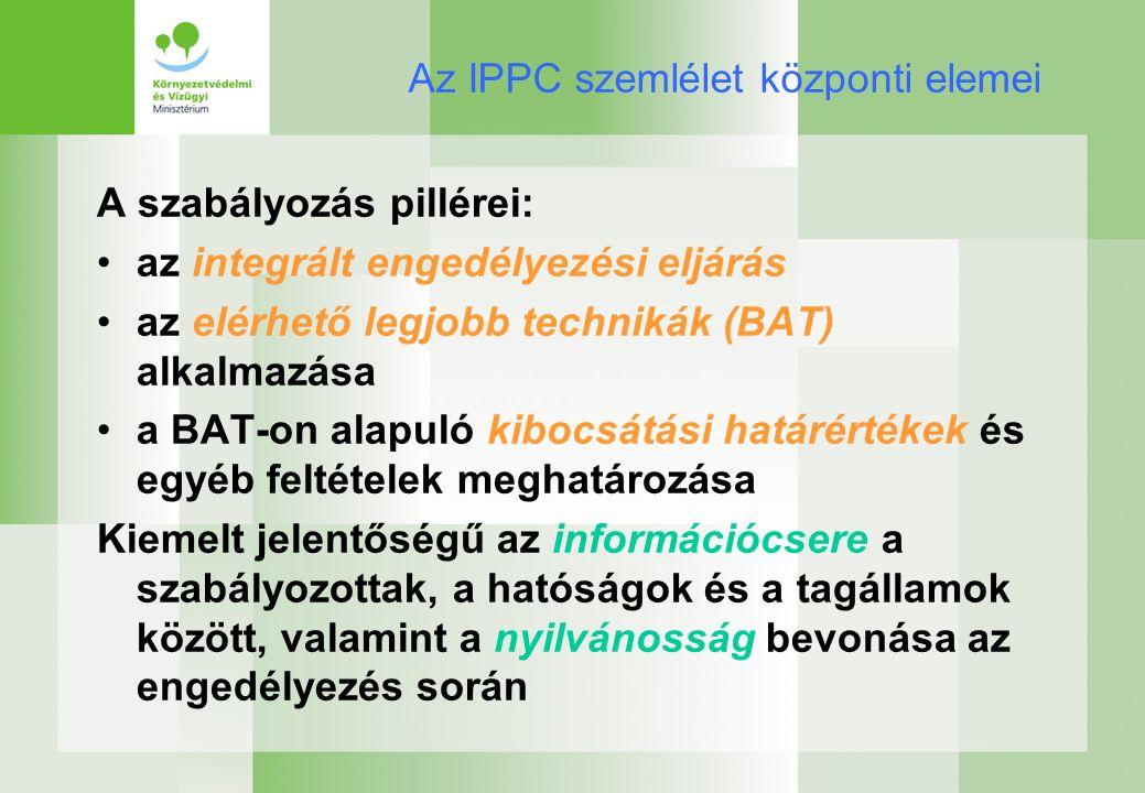 Az IPPC szemlélet központi elemei A szabályozás pillérei: az integrált engedélyezési eljárás az elérhető legjobb technikák (BAT) alkalmazása a BAT-on alapuló kibocsátási határértékek és egyéb feltételek meghatározása Kiemelt jelentőségű az információcsere a szabályozottak, a hatóságok és a tagállamok között, valamint a nyilvánosság bevonása az engedélyezés során