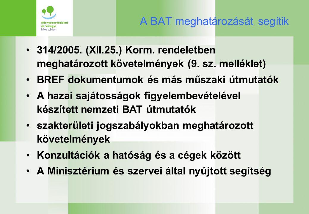 A BAT meghatározását segítik 314/2005. (XII.25.) Korm.