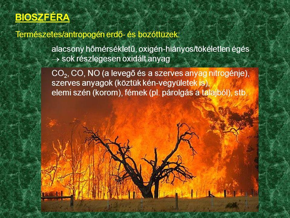 BIOSZFÉRA Természetes/antropogén erdő- és bozóttüzek: alacsony hőmérsékletű, oxigén-hiányos/tökéletlen égés  sok részlegesen oxidált anyag CO 2, CO, NO (a levegő és a szerves anyag nitrogénje), szerves anyagok (köztük kén-vegyületek is), elemi szén (korom), fémek (pl.