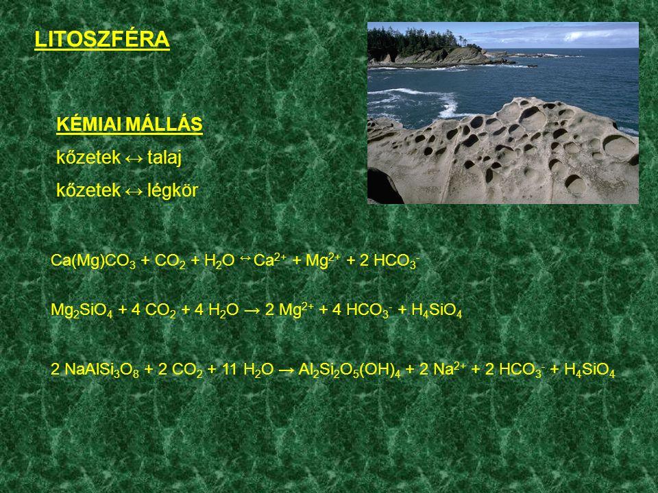 KÉMIAI MÁLLÁS kőzetek ↔ talaj kőzetek ↔ légkör Ca(Mg)CO 3 + CO 2 + H 2 O ↔ Ca 2+ + Mg 2+ + 2 HCO 3 - Mg 2 SiO 4 + 4 CO 2 + 4 H 2 O → 2 Mg 2+ + 4 HCO 3 - + H 4 SiO 4 2 NaAlSi 3 O 8 + 2 CO 2 + 11 H 2 O → Al 2 Si 2 O 5 (OH) 4 + 2 Na 2+ + 2 HCO 3 - + H 4 SiO 4 LITOSZFÉRA