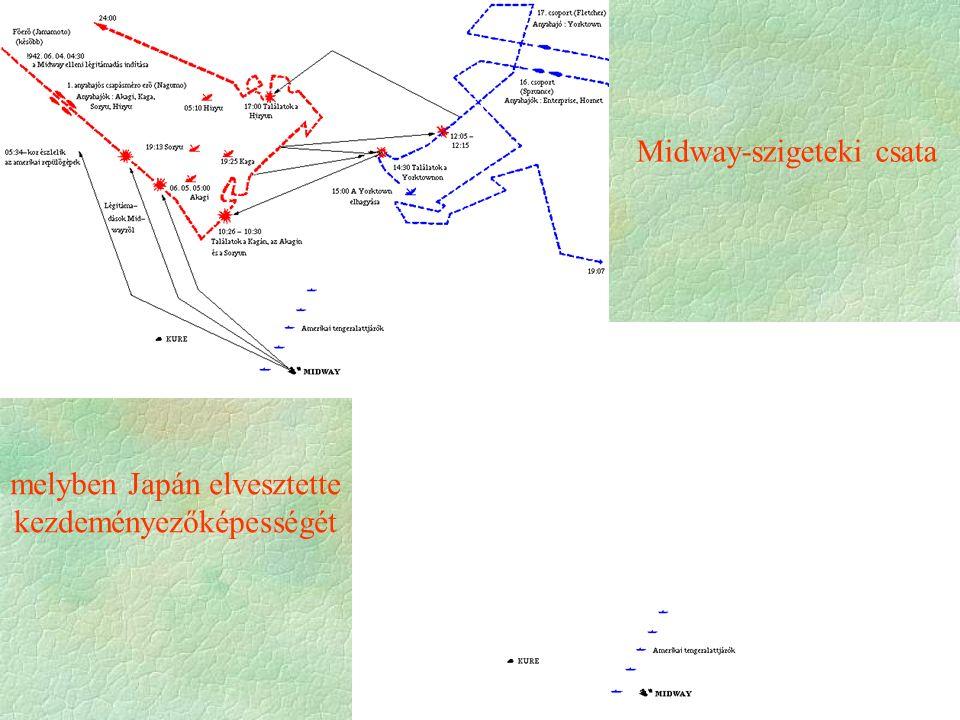 melyben Japán elvesztette kezdeményezőképességét Midway-szigeteki csata