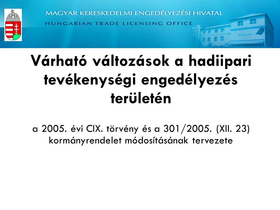 Magyar Kereskedelmi Engedélyezési Hivatal Haditechnikai és Exportellenőrzési Hatóság Várható változások a hadiipari tevékenységi engedélyezés területén a 2005.