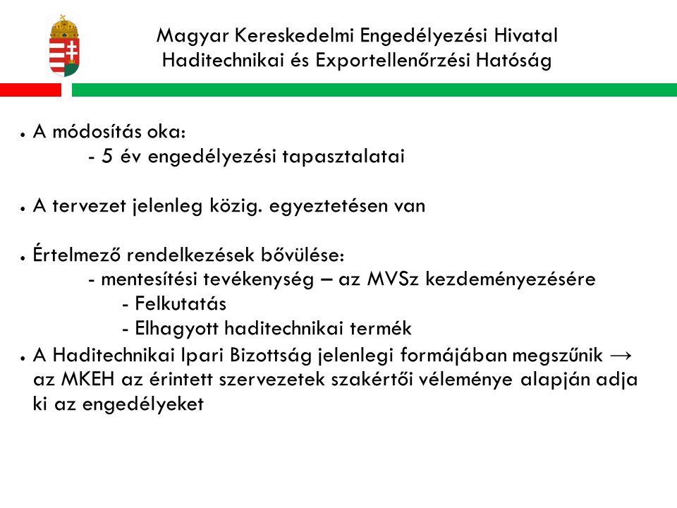 Magyar Kereskedelmi Engedélyezési Hivatal Haditechnikai és Exportellenőrzési Hatóság ● A módosítás oka: - 5 év engedélyezési tapasztalatai ● A tervezet jelenleg közig.