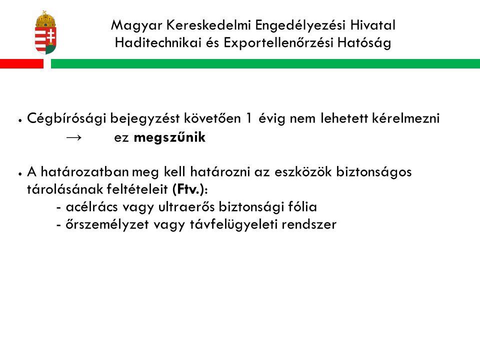 Magyar Kereskedelmi Engedélyezési Hivatal Haditechnikai és Exportellenőrzési Hatóság ● Cégbírósági bejegyzést követően 1 évig nem lehetett kérelmezni → ez megszűnik ● A határozatban meg kell határozni az eszközök biztonságos tárolásának feltételeit (Ftv.): - acélrács vagy ultraerős biztonsági fólia - őrszemélyzet vagy távfelügyeleti rendszer