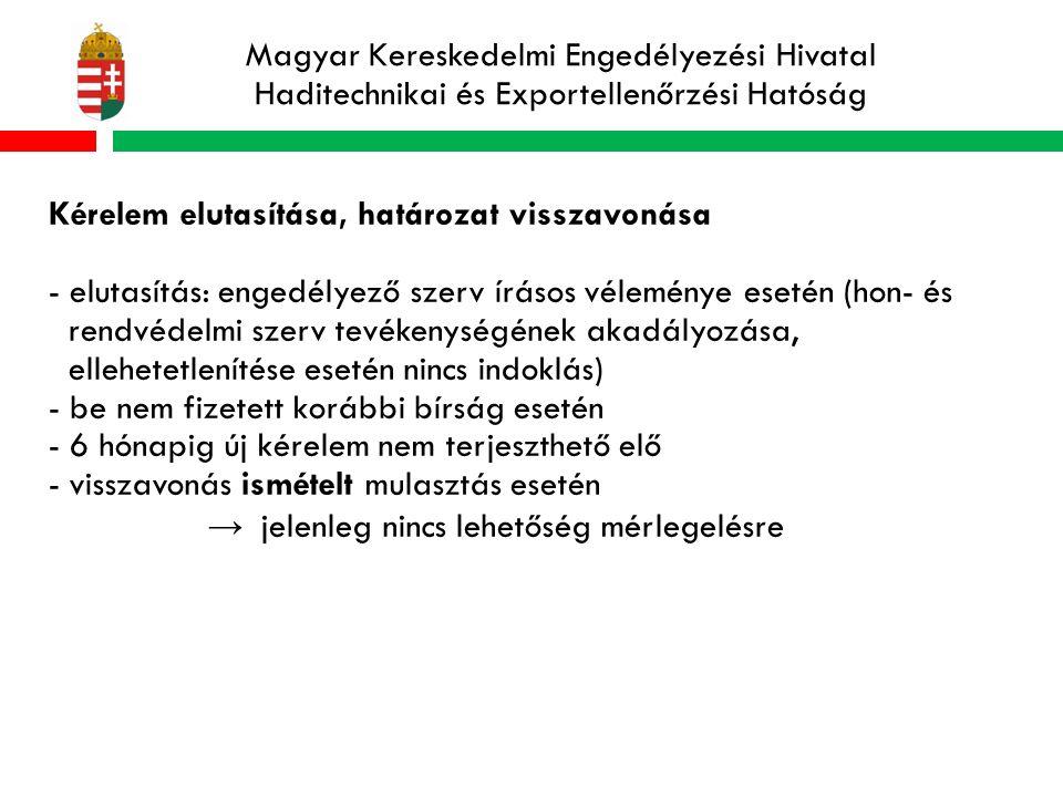 Magyar Kereskedelmi Engedélyezési Hivatal Haditechnikai és Exportellenőrzési Hatóság Kérelem elutasítása, határozat visszavonása - elutasítás: engedélyező szerv írásos véleménye esetén (hon- és rendvédelmi szerv tevékenységének akadályozása, ellehetetlenítése esetén nincs indoklás) - be nem fizetett korábbi bírság esetén - 6 hónapig új kérelem nem terjeszthető elő - visszavonás ismételt mulasztás esetén → jelenleg nincs lehetőség mérlegelésre