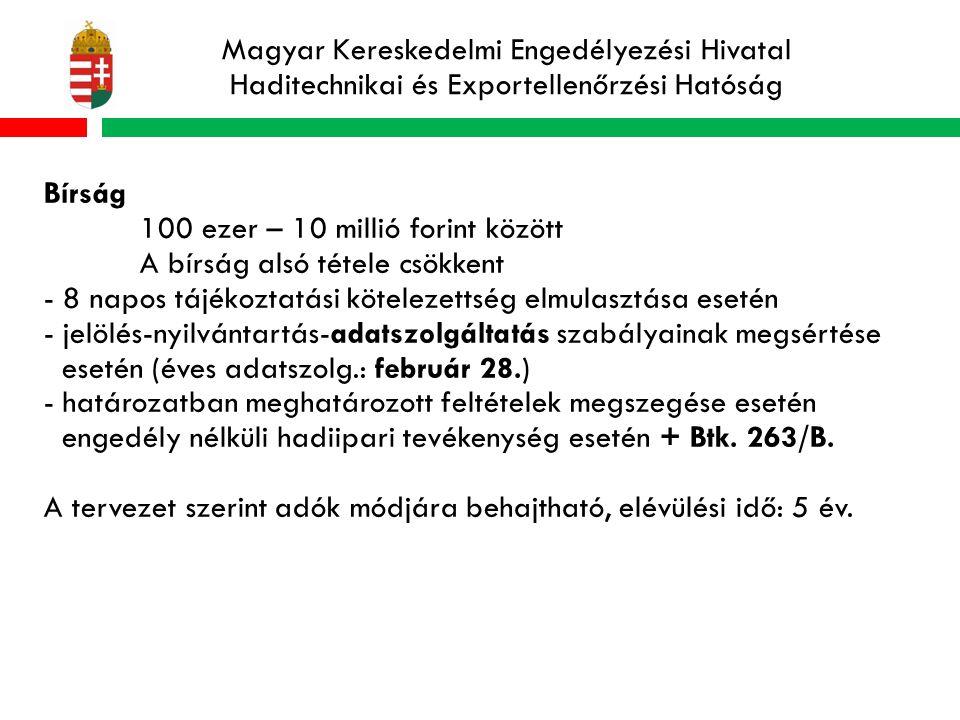 Magyar Kereskedelmi Engedélyezési Hivatal Haditechnikai és Exportellenőrzési Hatóság Bírság 100 ezer – 10 millió forint között A bírság alsó tétele csökkent - 8 napos tájékoztatási kötelezettség elmulasztása esetén - jelölés-nyilvántartás-adatszolgáltatás szabályainak megsértése esetén (éves adatszolg.: február 28.) - határozatban meghatározott feltételek megszegése esetén engedély nélküli hadiipari tevékenység esetén + Btk.