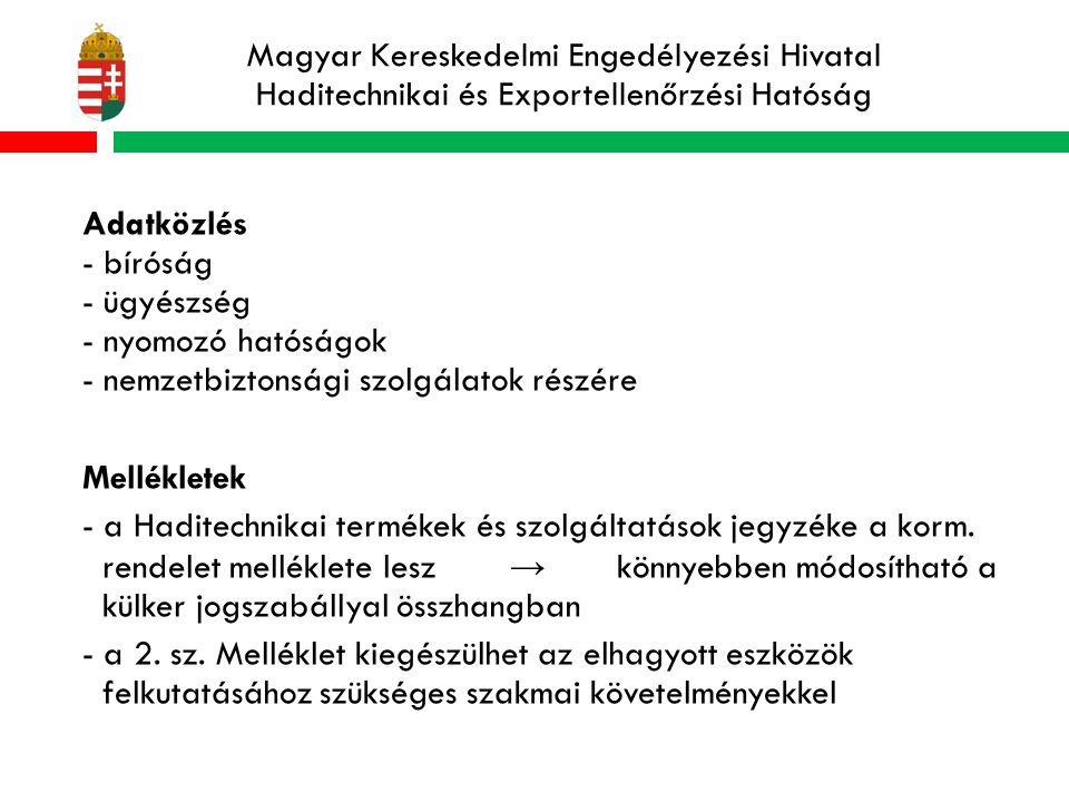 Magyar Kereskedelmi Engedélyezési Hivatal Haditechnikai és Exportellenőrzési Hatóság Adatközlés - bíróság - ügyészség - nyomozó hatóságok - nemzetbiztonsági szolgálatok részére Mellékletek - a Haditechnikai termékek és szolgáltatások jegyzéke a korm.