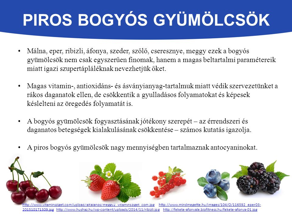 PIROS BOGYÓS GYÜMÖLCSÖK Málna, eper, ribizli, áfonya, szeder, szőlő, cseresznye, meggy ezek a bogyós gyümölcsök nem csak egyszerűen finomak, hanem a magas beltartalmi paramétereik miatt igazi szupertápláléknak nevezhetjük őket.