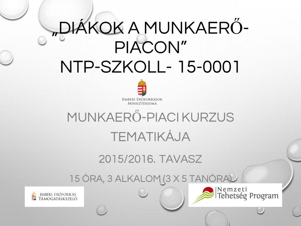 """""""DIÁKOK A MUNKAER Ő - PIACON"""" NTP-SZKOLL- 15-0001 MUNKAER Ő -PIACI KURZUS TEMATIKÁJA 2015/2016. TAVASZ 15 ÓRA, 3 ALKALOM (3 X 5 TANÓRA)"""