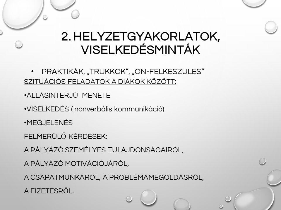 """2. HELYZETGYAKORLATOK, VISELKEDÉSMINTÁK PRAKTIKÁK, """"TRÜKKÖK"""", """"ÖN-FELKÉSZÜLÉS"""" SZITUÁCIÓS FELADATOK A DIÁKOK KÖZÖTT: ÁLLÁSINTERJÚ MENETE VISELKEDÉS ("""