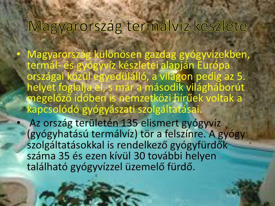 Magyarország különösen gazdag gyógyvizekben, termál- és gyógyvíz készletei alapján Európa országai közül egyedülálló, a világon pedig az 5.