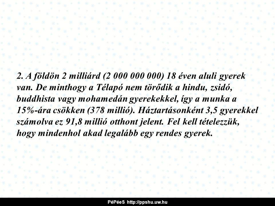 2.A földön 2 milliárd (2 000 000 000) 18 éven aluli gyerek van.