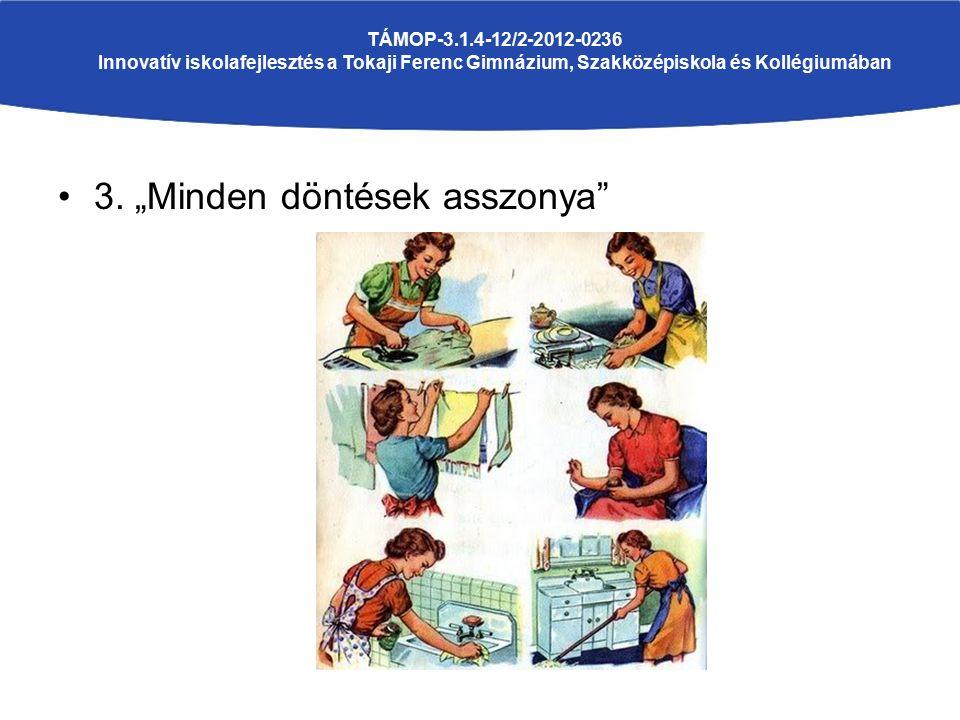 """3. """"Minden döntések asszonya"""" TÁMOP-3.1.4-12/2-2012-0236 Innovatív iskolafejlesztés a Tokaji Ferenc Gimnázium, Szakközépiskola és Kollégiumában"""