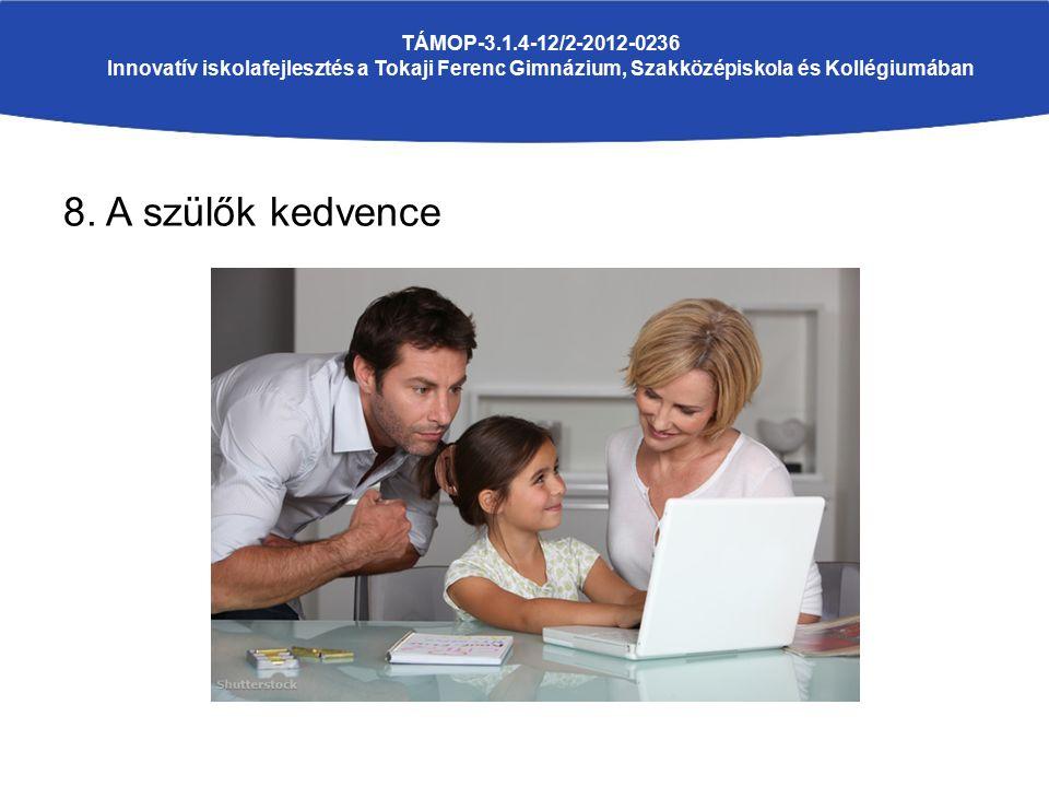 8. A szülők kedvence TÁMOP-3.1.4-12/2-2012-0236 Innovatív iskolafejlesztés a Tokaji Ferenc Gimnázium, Szakközépiskola és Kollégiumában