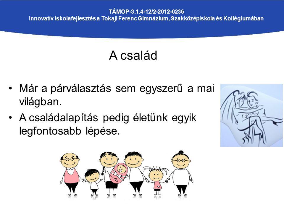 A család Már a párválasztás sem egyszerű a mai világban. A családalapítás pedig életünk egyik legfontosabb lépése. TÁMOP-3.1.4-12/2-2012-0236 Innovatí