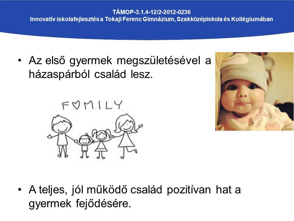 Az első gyermek megszületésével a házaspárból család lesz. A teljes, jól működő család pozitívan hat a gyermek fejődésére. TÁMOP-3.1.4-12/2-2012-0236