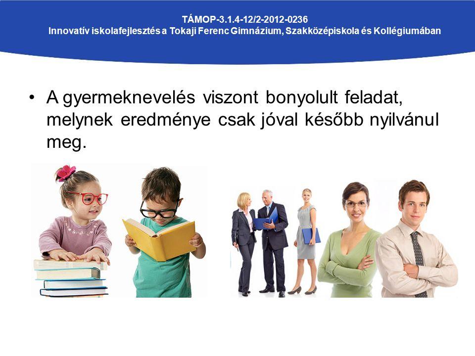 A gyermeknevelés viszont bonyolult feladat, melynek eredménye csak jóval később nyilvánul meg. TÁMOP-3.1.4-12/2-2012-0236 Innovatív iskolafejlesztés a
