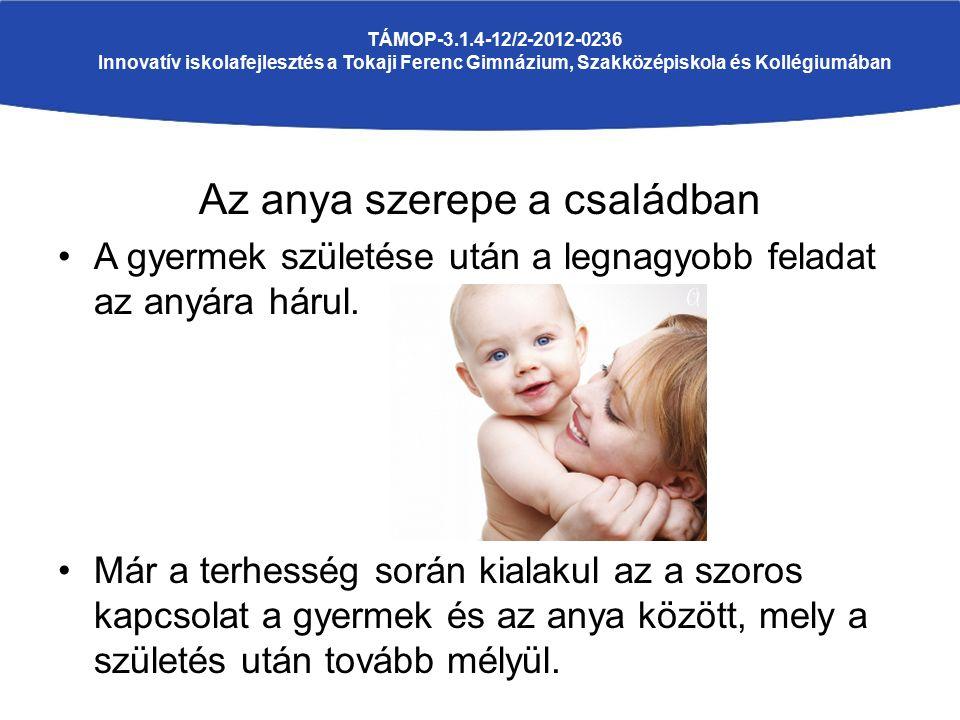 Az anya szerepe a családban A gyermek születése után a legnagyobb feladat az anyára hárul. Már a terhesség során kialakul az a szoros kapcsolat a gyer