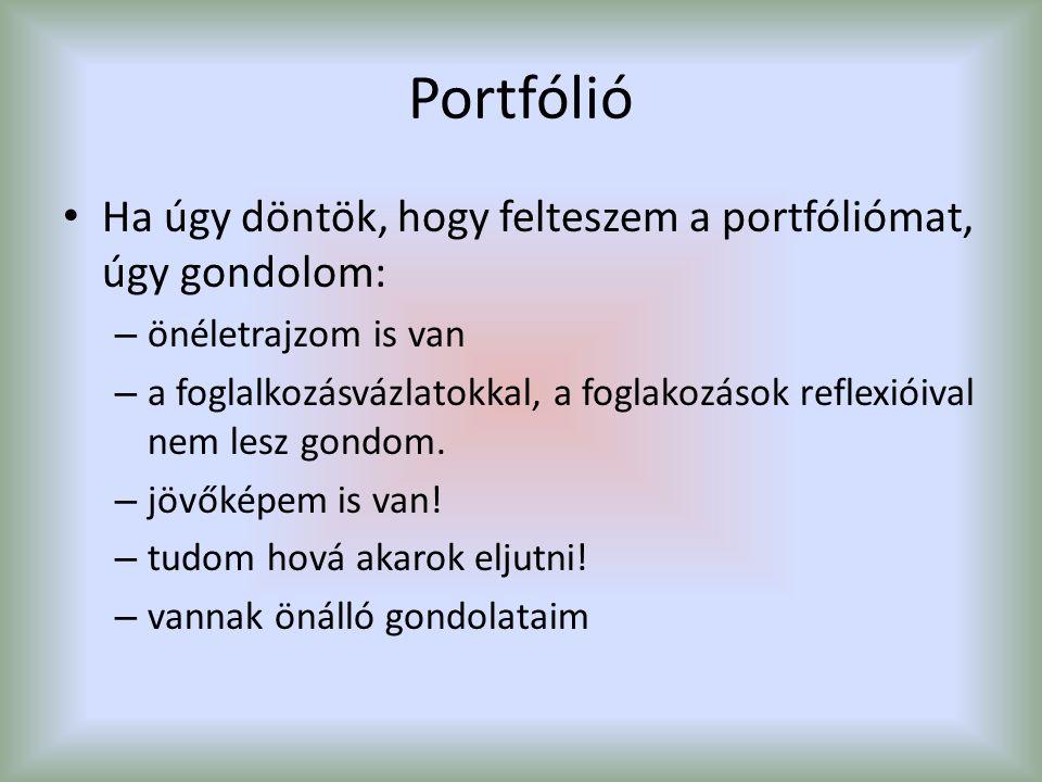Portfólió Ha úgy döntök, hogy felteszem a portfóliómat, úgy gondolom: – önéletrajzom is van – a foglalkozásvázlatokkal, a foglakozások reflexióival ne