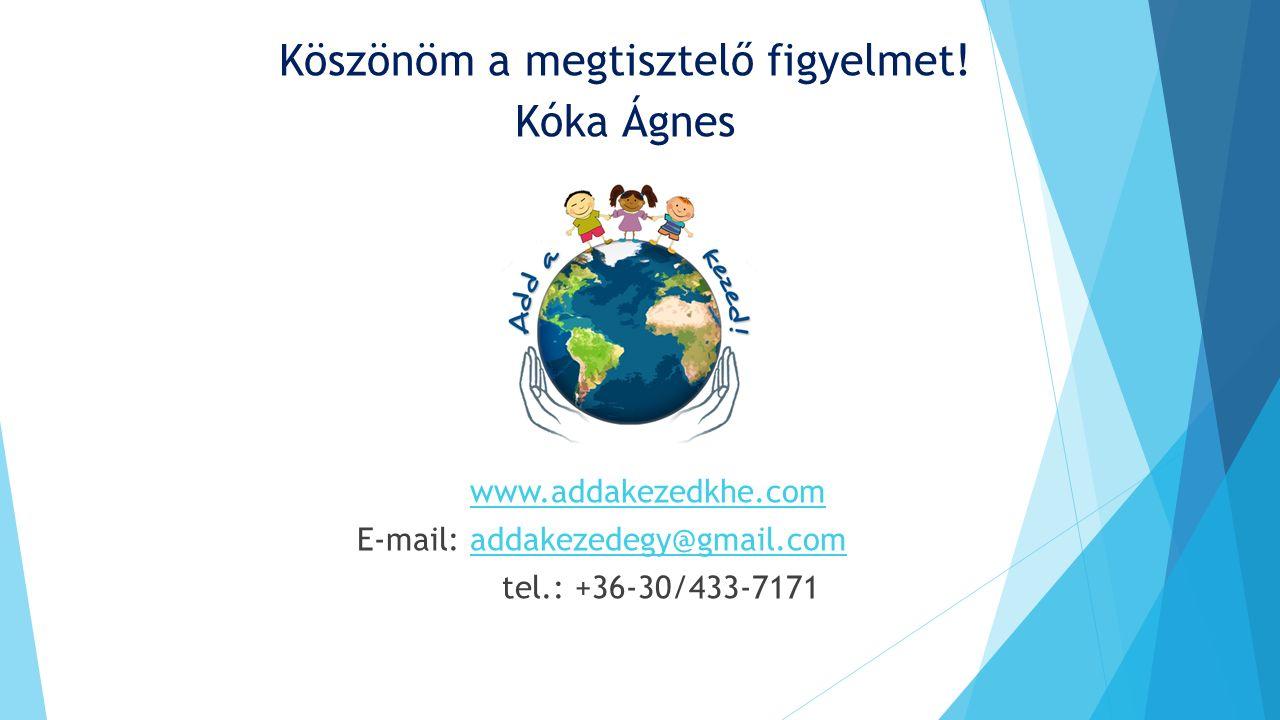 Köszönöm a megtisztelő figyelmet! Kóka Ágnes www.addakezedkhe.com E-mail: addakezedegy@gmail.comaddakezedegy@gmail.com tel.: +36-30/433-7171