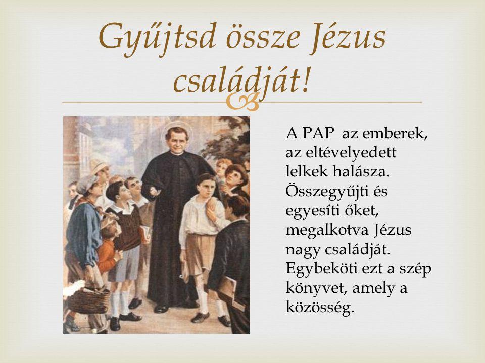  Gyűjtsd össze Jézus családját. A PAP az emberek, az eltévelyedett lelkek halásza.
