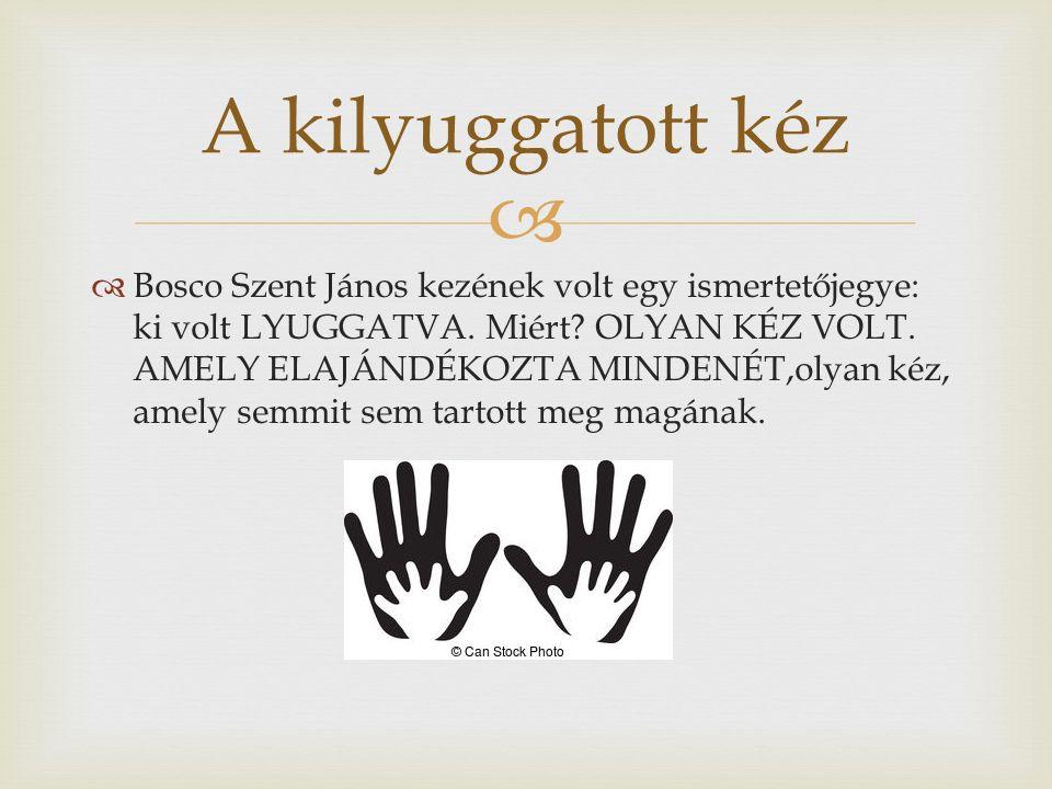   Bosco Szent János kezének volt egy ismertetőjegye: ki volt LYUGGATVA.