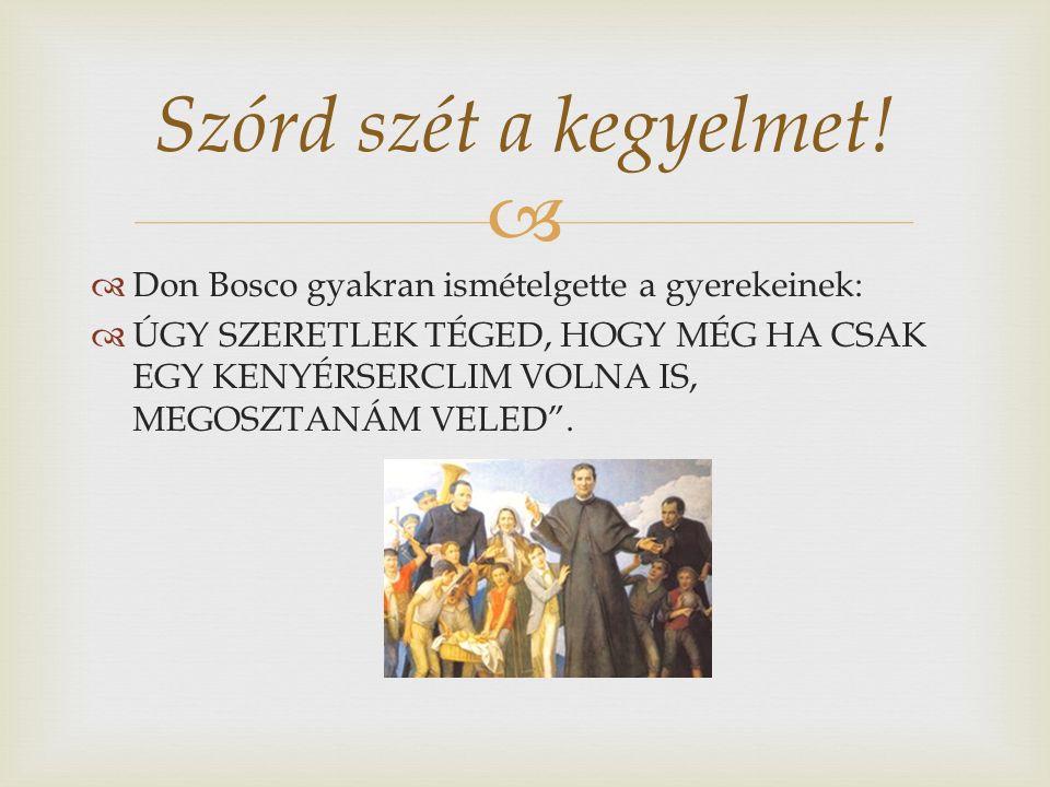   Don Bosco gyakran ismételgette a gyerekeinek:  ÚGY SZERETLEK TÉGED, HOGY MÉG HA CSAK EGY KENYÉRSERCLIM VOLNA IS, MEGOSZTANÁM VELED .